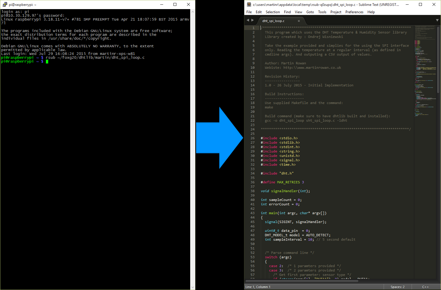 Live Editing Raspberry Pi files in Sublime Text & RSUB & putty