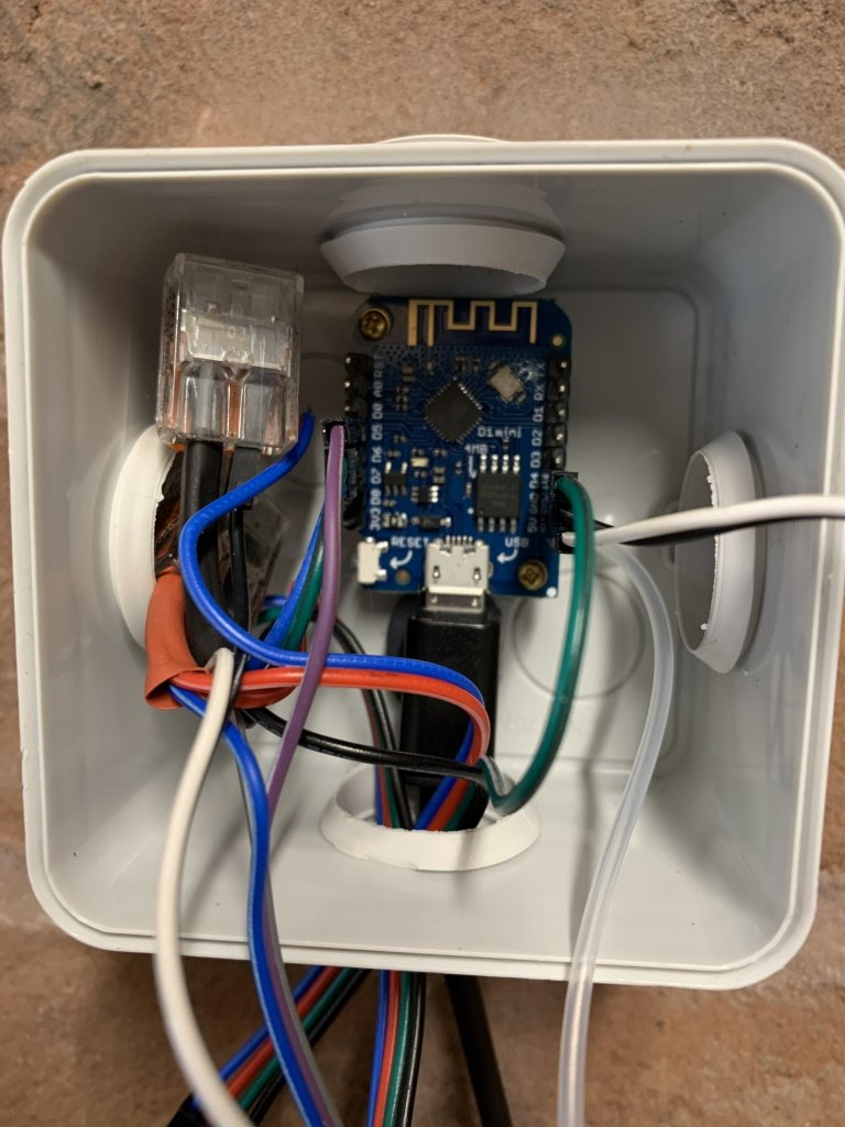 Wemos D1 Mini in junction box enclosure with sensors connected