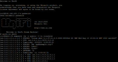 Unifi ssh terminal showing snmpwalk