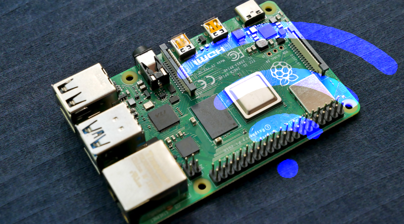 Raspberry Pi 4 with Blue WiFi symbol overlay