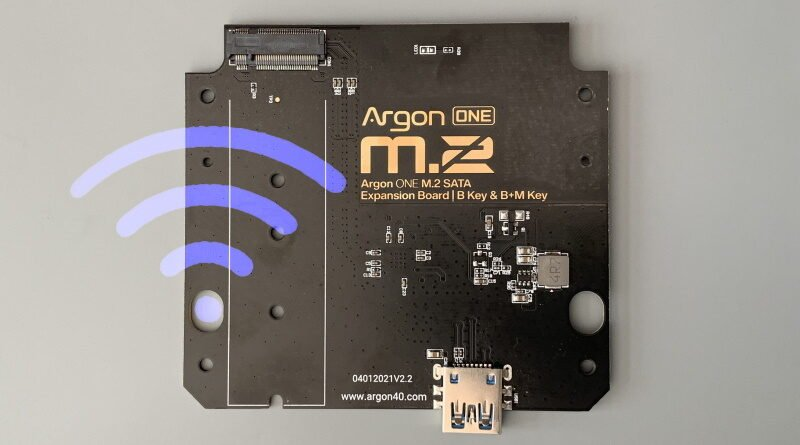 Argon ONE M.2 PCB version 2,2 with WiFi symbol overlay